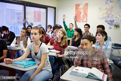 Classroom of teenage students during class.