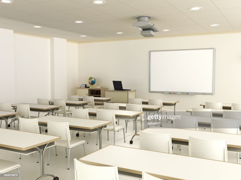 Modern Classroom Certified Trainer ~ Classroom with interactive whiteboard stock photo getty
