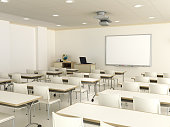 Modern classroom with a blank interactive whiteboard.World map's obtained from the Nasa public domain archive and then has been modified for required diffuse and bump maps.Link: http://veimages.gsfc.n