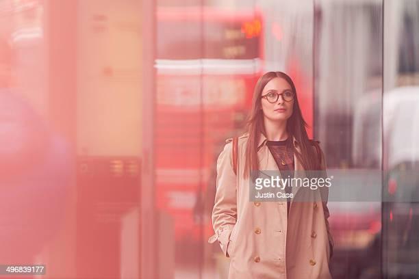 classy woman walking in a big city street