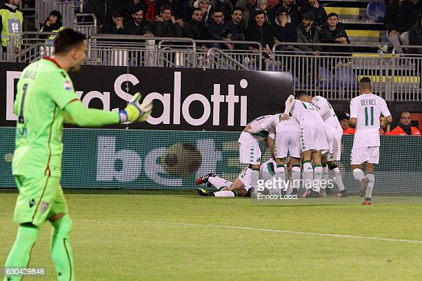 Claud Adjapong of Sassuolo celebrates the goal with the teammates during the Serie A match between Cagliari Calcio and US Sassuolo at Stadio...