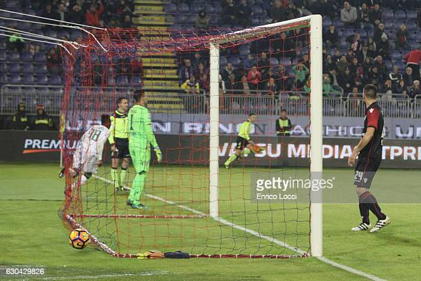Claud Adjapong of Sassuolo scores the goal during the Serie A match between Cagliari Calcio and US Sassuolo at Stadio Sant'Elia on December 22 2016...