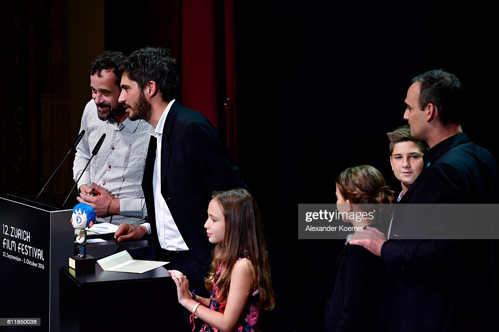 Claude Barras and Max Karli give their acceptance speech after receiving the 'ZFF for Kids' award for their movie 'Ma Vie De Courgette' on stage during the Award Night Ceremony during the 12th Zurich Film Festival on October 1, 2016 in Zurich, Switzerland. The Zurich Film Festival 2016 will take place from September 22 until October 2.
