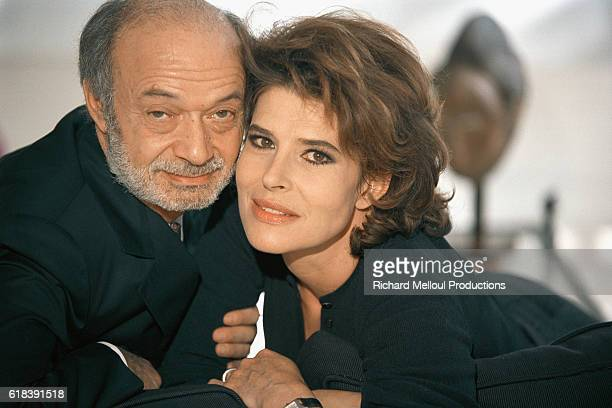 Claude Berri and Fanny Ardant on the set of 'La Debandade'