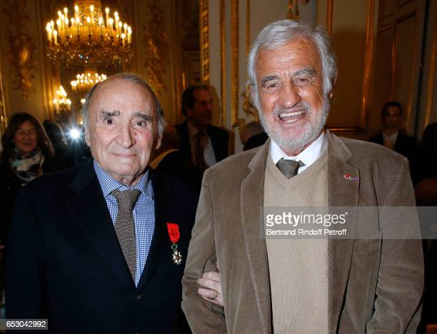 Claude Brasseur and JeanPaul Belmondo attend Claude Brasseur is elevated to the rank of 'Officier de la Legion d'Honneur' at Elysee Palace on March...