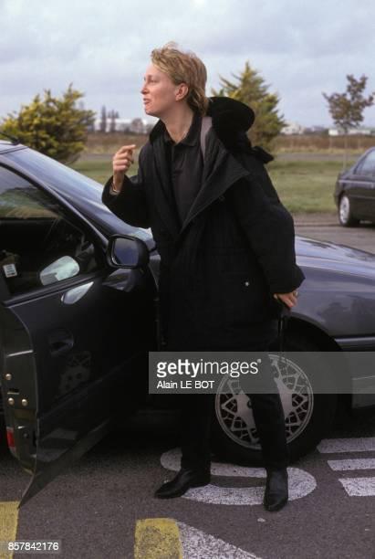 Claude Chirac accompagne son pere Jacques Chirac lors d'un deplacement en LoireAtlantique le 14 septembre 1993 a SaintNazaire France