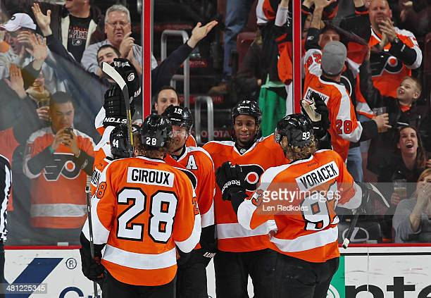 Claude Giroux Kimmo Timonen Scott Hartnell Wayne Simmonds and Jakub Voracek of the Philadelphia Flyers celebrate Hartnell's second period powerplay...