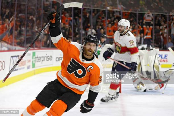 Claude Giroux of the Philadelphia Flyers celebrates his goal on goalie Roberto Luongo of the Florida Panthers during the second period at Wells Fargo...