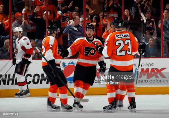 Claude Giroux of the Philadelphia Flyers celebrates his shorthanded goal against the Ottawa Senators at 1144 of the first period at the Wells Fargo...