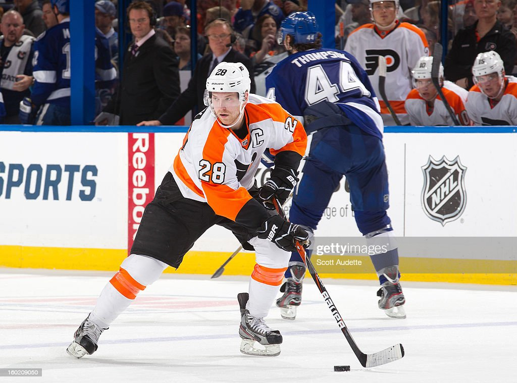 Claude Giroux #28 of the Philadelphia Flyers controls the puck during the third period of a Tampa Bay Lightning game against the Philadelphia Flyers at the Tampa Bay Times Forum on January 27, 2013 in Tampa, Florida.