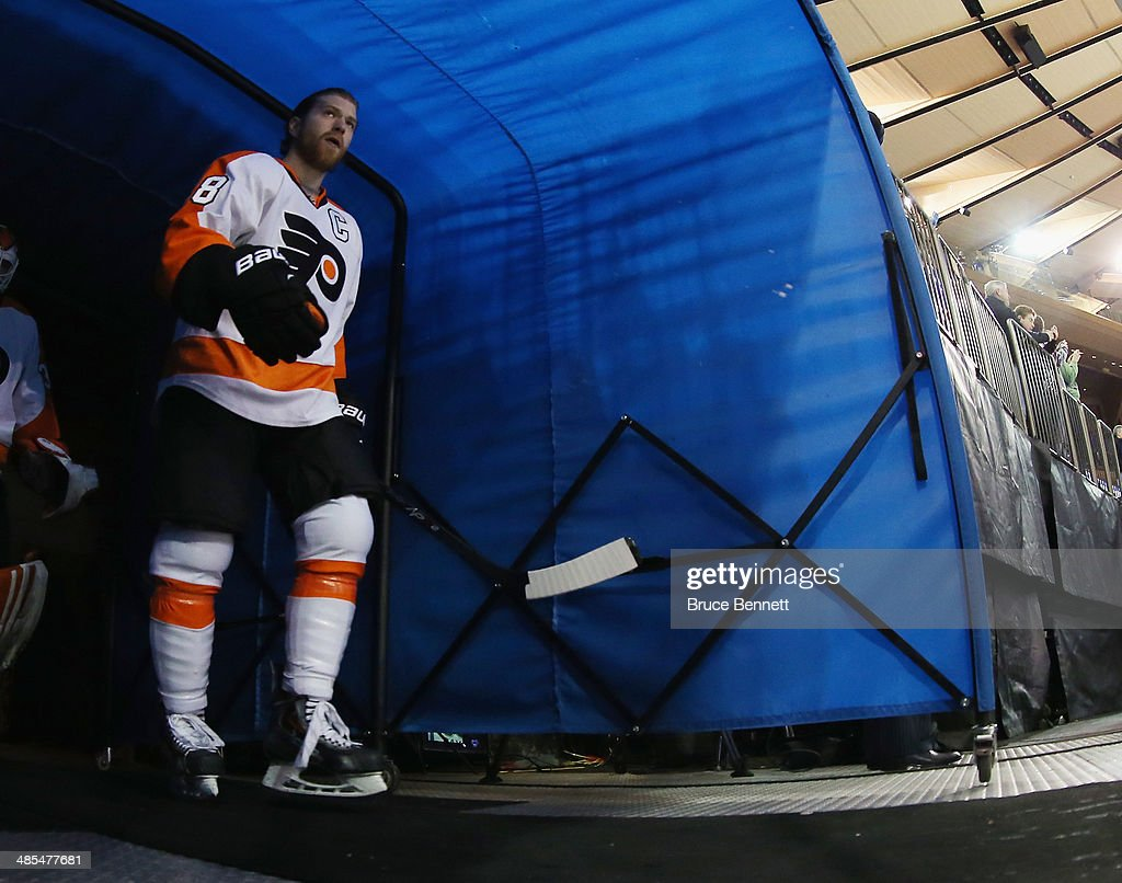 <a gi-track='captionPersonalityLinkClicked' href=/galleries/search?phrase=Claude+Giroux&family=editorial&specificpeople=537961 ng-click='$event.stopPropagation()'>Claude Giroux</a> #28 of the Philadelphia Flyers heads out for warmups prior to the game against the New York Rangers in Game One of the First Round of the 2014 NHL Stanley Cup Playoffs at Madison Square Garden on April 17, 2014 in New York City. The Rangers defeated the Flyers 4-1.
