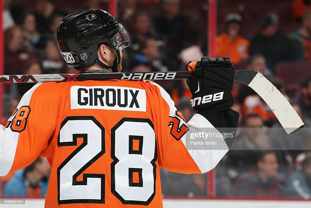 Claude Giroux of the Philadelphia Flyers looks on against the Montreal Canadiens during the first period at Wells Fargo Center on February 2 2016 in...
