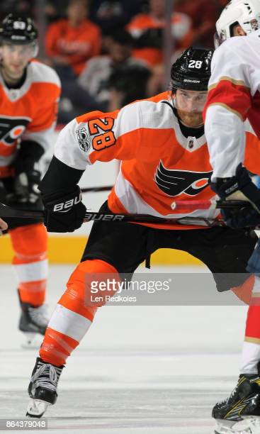 Claude Giroux of the Philadelphia Flyers looks on prior a to faceoff against the Florida Panthers on October 17 2017 at the Wells Fargo Center in...