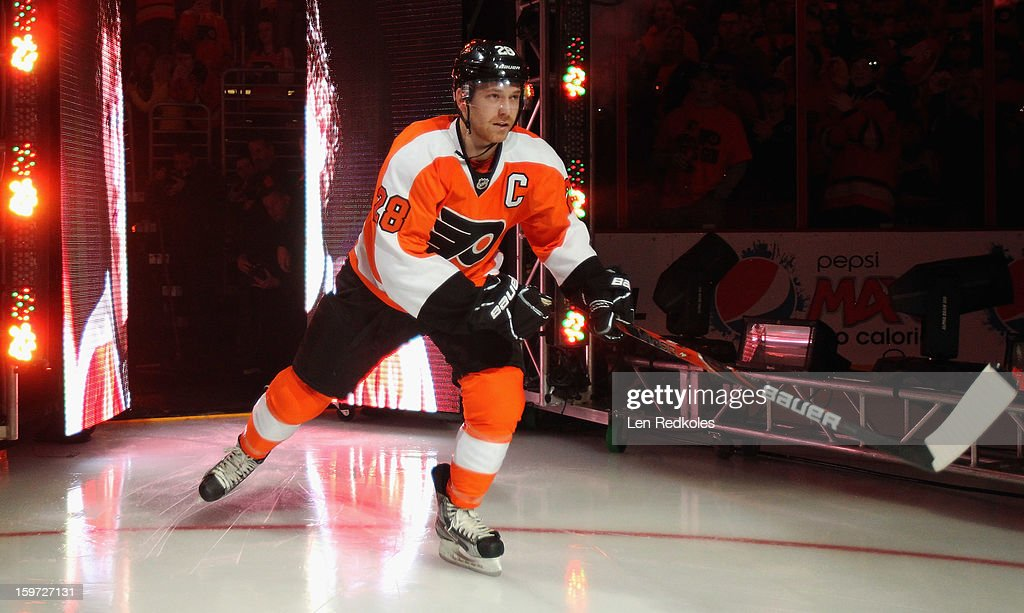 Claude Giroux #28 of the Philadelphia Flyers, newly named Captain, enters the ice surface prior to his game against the Pittsburgh Penguins on January 19, 2013 at the Wells Fargo Center in Philadelphia, Pennsylvania.