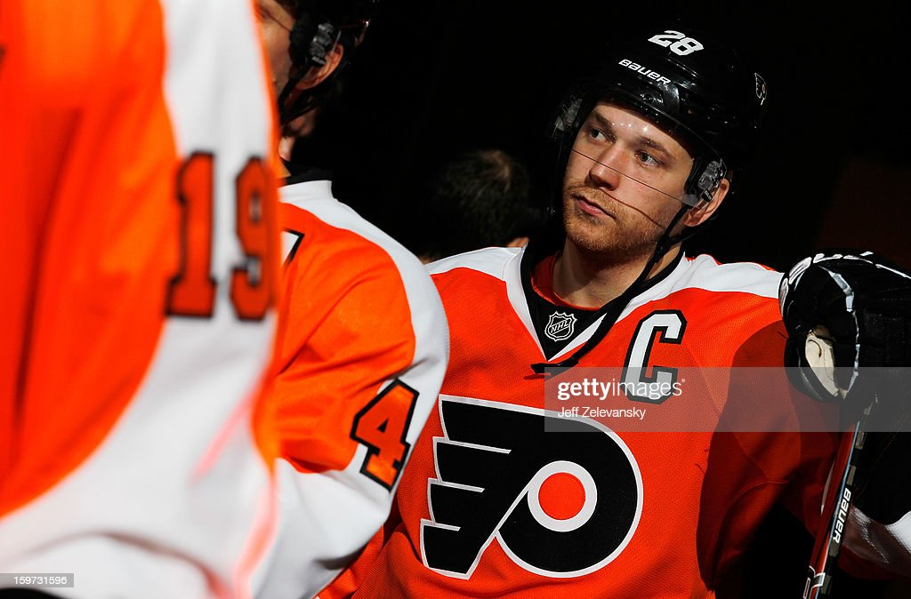 Claude Giroux #28 of the Philadelphia Flyers prepares to take the ice in the season opener against the Pittsburgh Penguins at Wells Fargo Center on January 19, 2013 in Philadelphia, Pennsylvania.