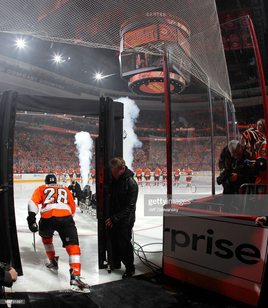 <a gi-track='captionPersonalityLinkClicked' href=/galleries/search?phrase=Claude+Giroux&family=editorial&specificpeople=537961 ng-click='$event.stopPropagation()'>Claude Giroux</a> #28 of the Philadelphia Flyers prepares to take the ice in the season opener against the Pittsburgh Penguins at Wells Fargo Center on January 19, 2013 in Philadelphia, Pennsylvania.