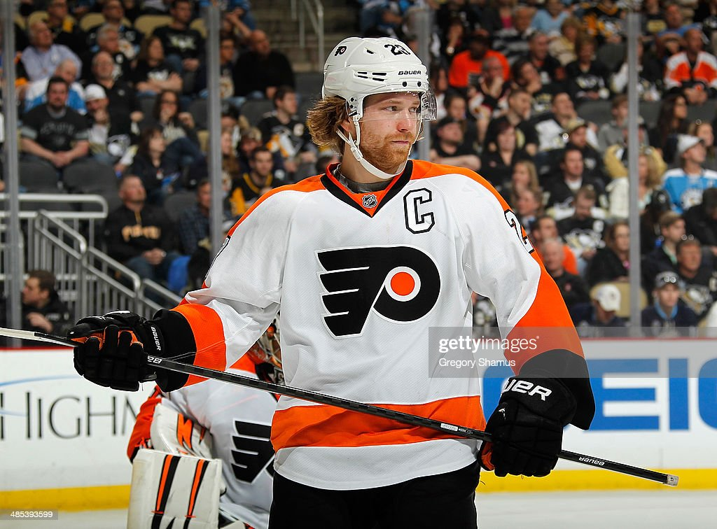 <a gi-track='captionPersonalityLinkClicked' href=/galleries/search?phrase=Claude+Giroux&family=editorial&specificpeople=537961 ng-click='$event.stopPropagation()'>Claude Giroux</a> #28 of the Philadelphia Flyers skates against the Pittsburgh Penguins on April 12, 2014 at Consol Energy Center in Pittsburgh, Pennsylvania.