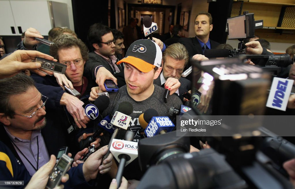 Claude Giroux #28 of the Philadelphia Flyers speaks to the media after a 3-1 loss against the Pittsburgh Penguins on January 19, 2013 at the Wells Fargo Center in Philadelphia, Pennsylvania.