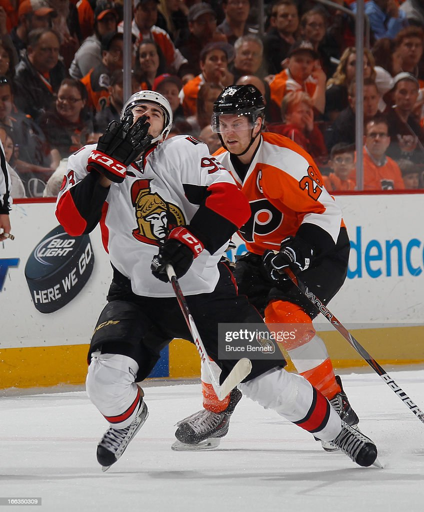 <a gi-track='captionPersonalityLinkClicked' href=/galleries/search?phrase=Claude+Giroux&family=editorial&specificpeople=537961 ng-click='$event.stopPropagation()'>Claude Giroux</a> #28 of the Philadelphia Flyers takes a double minor for high sticking <a gi-track='captionPersonalityLinkClicked' href=/galleries/search?phrase=Mika+Zibanejad&family=editorial&specificpeople=7832310 ng-click='$event.stopPropagation()'>Mika Zibanejad</a> #93 of the Ottawa Senators at the Wells Fargo Center on April 11, 2013 in Philadelphia, Pennsylvania. The Senators defeated the Flyers 3-1.