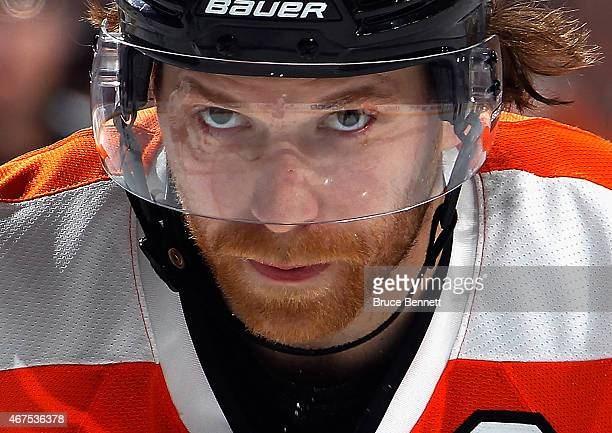 Claude Giroux of the Philadelphia Flyers waits for the faceoff against the Chicago Blackhawks during the second period at the Wells Fargo Center on...