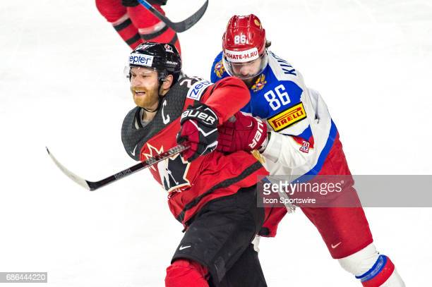 Claude Giroux vies with Nikita Kucherov during the Ice Hockey World Championship Semifinal between Canada and Russia at Lanxess Arena in Cologne...