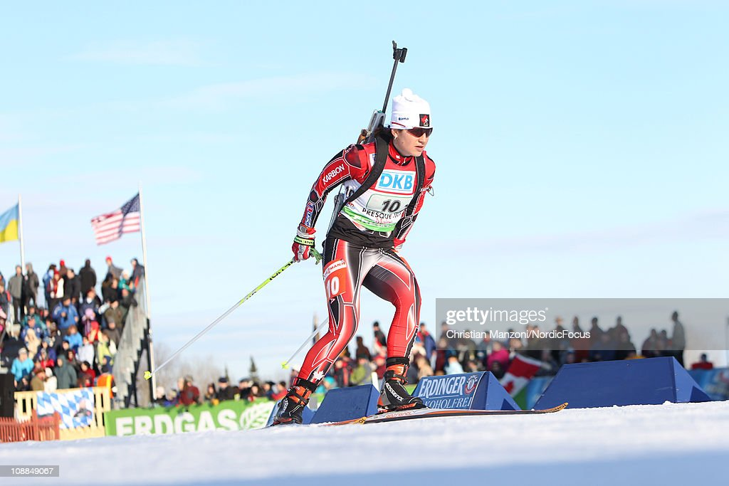 Claude Godbout of Canada competes in the mixed relay during the E.ON IBU Biathlon World Cup on February 5, 2011 in Presque Isle, Maine.