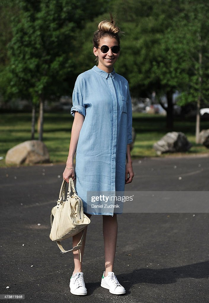 Claude is seen wearing a Cos dress Stanton shoes Moscot sunglasses with a Balenciaga bag at Frieze Art Fair 2015 at Randalls Island Park on May 17...