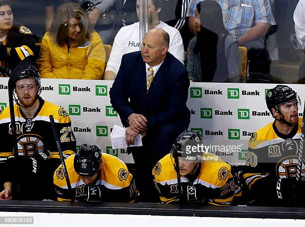 Claude Julien of the Boston Bruins looks on during Game Seven of the Second Round of the 2014 NHL Stanley Cup Playoffs against the Montreal Canadiens...