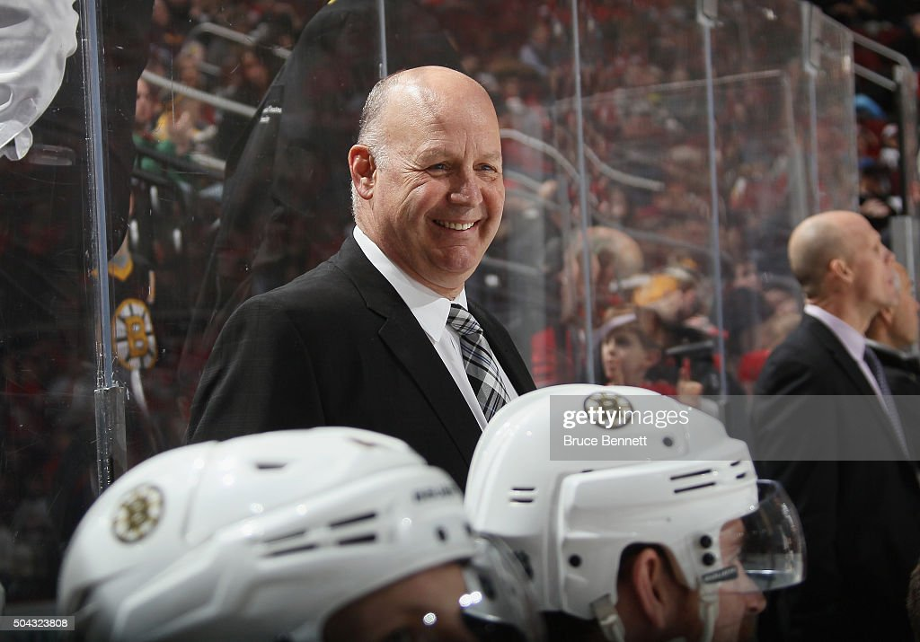 <a gi-track='captionPersonalityLinkClicked' href=/galleries/search?phrase=Claude+Julien&family=editorial&specificpeople=582124 ng-click='$event.stopPropagation()'>Claude Julien</a> of the Boston Bruins works the bench against the New Jersey Devils at the Prudential Center on January 8, 2016 in Newark, New Jersey. The Bruins defeated the Devils 4-1.