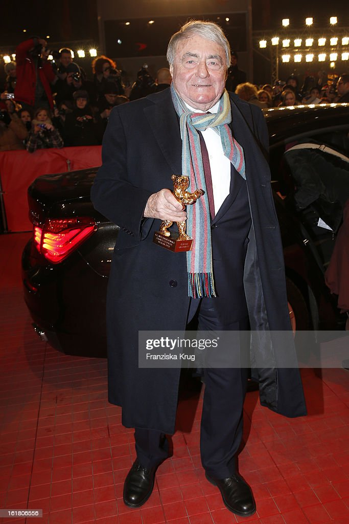 <a gi-track='captionPersonalityLinkClicked' href=/galleries/search?phrase=Claude+Lanzmann&family=editorial&specificpeople=2464586 ng-click='$event.stopPropagation()'>Claude Lanzmann</a> holds the Golden Bear at the Closing Ceremony Red Carpet Arrivals - BMW At The 63rd Berlinale International Film Festival at Berlinale-Palast on February 16, 2013 in Berlin, Germany.