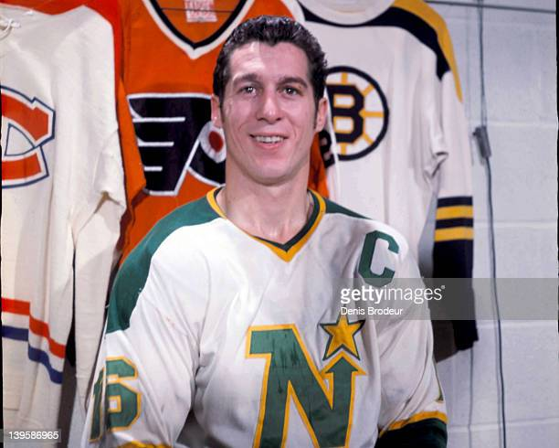 Claude Larose of the Minnesota North Stars poses for a photo in the locker room Circa 1960 at the Montreal Forum in Montreal Quebec Canada