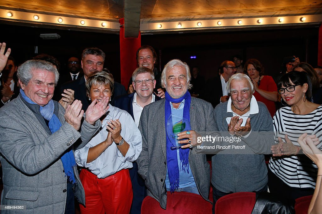 Claude Lelouch, David Douillet, President of 'Mimi Foundation' Myriam Ullens de Schooten, Michel Leeb, CEO of Beautysane Sylvain Bonnet, Actors Jean-Paul Belmondo, who receives an Award, Charles Gerard and Mathilda May attend the 'Trophees du Bien-Etre' by Beautysane : First Award Ceremony to Benefit 'Mimi Foundation'. Held at Theatre de la Gaite-Montparnasse on September 21, 2015 in Paris, France.