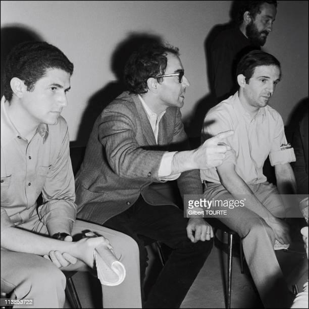 Claude Lelouch JeanLuc Godard Francois Truffaut during the Cannes film festival in 1968 Photo by TOURTE/STILLS/GAMMA