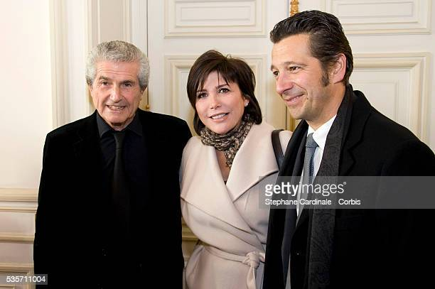Claude Lelouch Liane Foly and Laurent Gerra attend the Award Ceremony for the Vermail Medal to Claude Lelouch at Paris City Hall