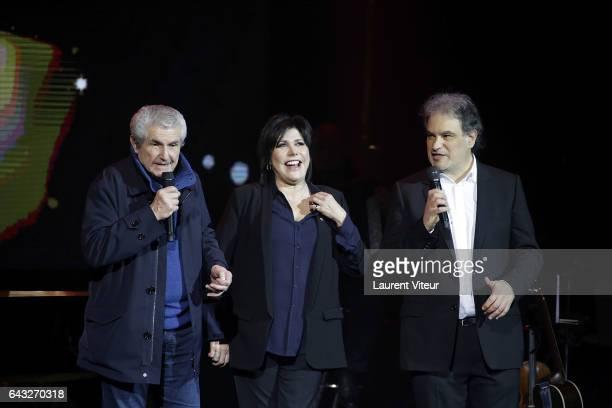 Claude Lelouch Liane Foly and Raphael Mezrahi attend 'La Nuit De La Deprime 2017' at Folies Bergeres on February 20 2017 in Paris France