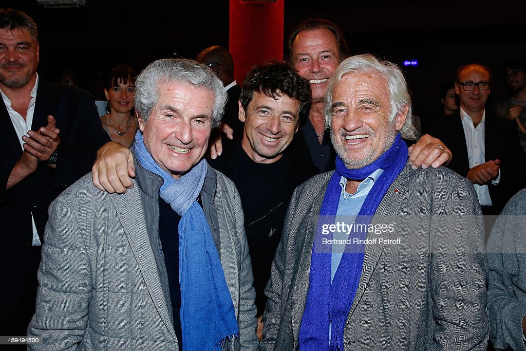 Claude Lelouch, Patrick Bruel, Michel Leeb and Jean-Paul Belmondo, who receives an Award, and attend the 'Trophees du Bien-Etre' by Beautysane : First Award Ceremony to Benefit 'Mimi Foundation'. Held at Theatre de la Gaite-Montparnasse on September 21, 2015 in Paris, France.