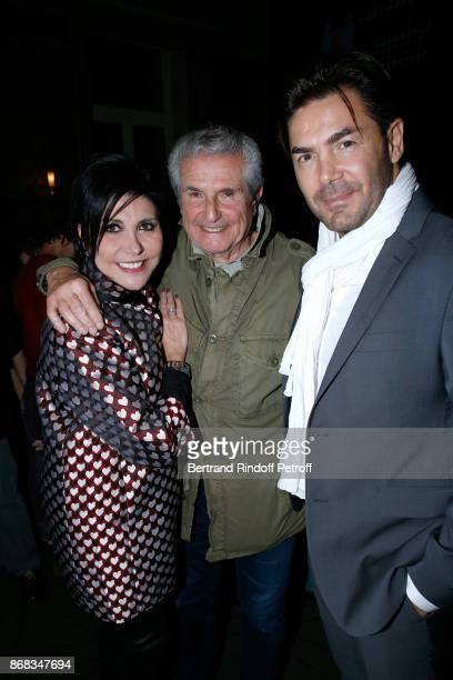 Claude Lelouch standing between Singer Liane Foly and her husband David Rigaut attend Claude Lelouch celebrates his 80th Birthday at Restaurant...