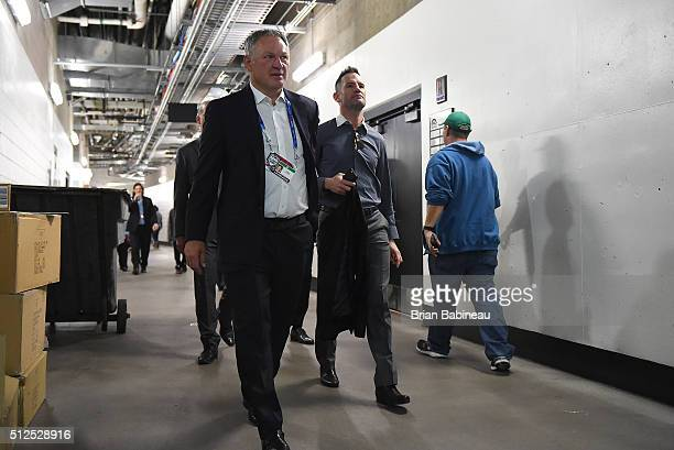 Claude Lemieux and Stephan Yelle of the Colorado Avalanche Alumni make their way to the locker room prior to the 2016 Coors Light Stadium Series...
