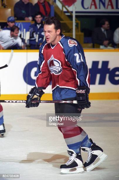 Claude Lemieux of the Colorado Avalanche skates in warmup prior to a game against the Toronto Maple Leafs during game action on December 11 1995 at...