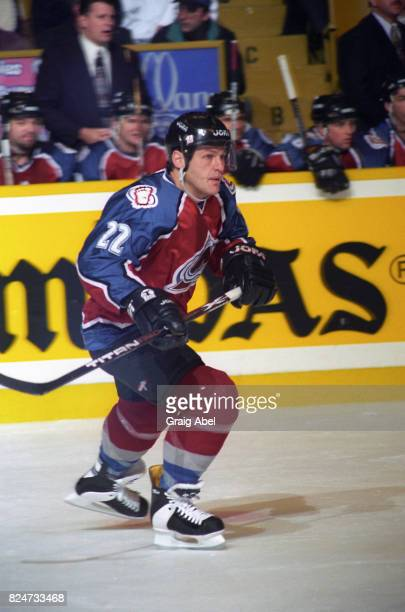 Claude Lemieux of the Colorado Avalanche skates up ice against the Toronto Maple Leafs during game action on December 11 1995 at Maple Leaf Gardens...