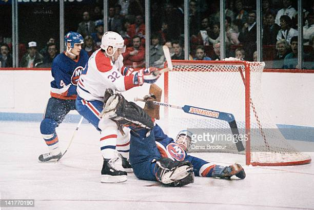 Claude Lemieux of the Montreal Canadiens crashes the net during a game against the New York islanders Circa 1980 at the Montreal Forum in Montreal...
