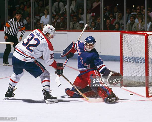 Claude Lemieux of the Montreal Canadiens scores against the New York Rangers Circa 1980 at the Montreal Forum in Montreal Quebec Canada