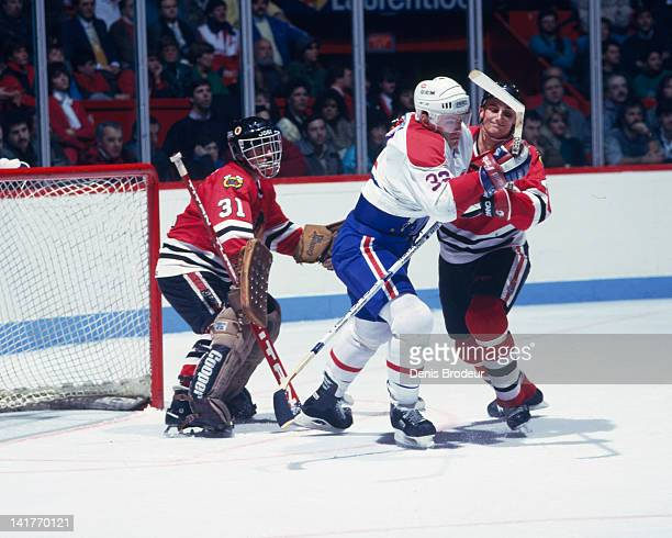 Claude Lemieux of the Montreal Canadiens skates against the Chicago Blackhawks Circa 1980 at the Montreal Forum in Montreal Quebec Canada