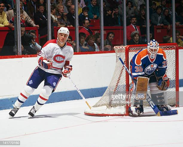 Claude Lemieux of the Montreal Canadiens skates against the Edmonton Oilers Circa 1980 at the Montreal Forum in Montreal Quebec Canada