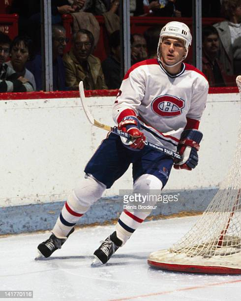 Claude Lemieux of the Montreal Canadiens skates Circa 1980 at the Montreal Forum in Montreal Quebec Canada