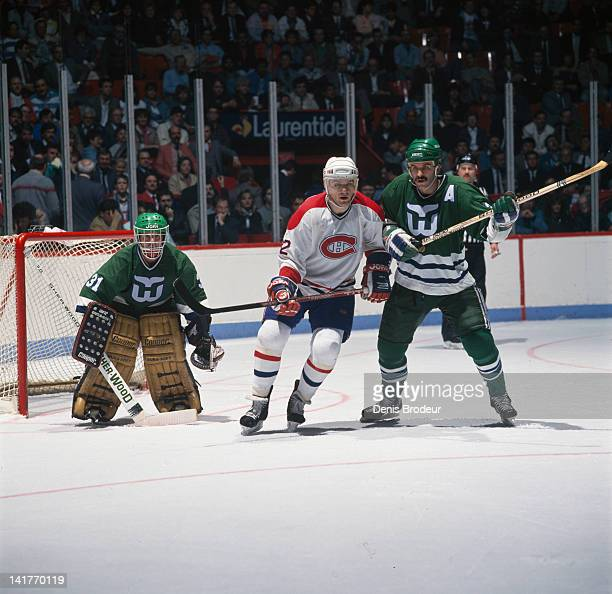 Claude Lemieux of the Montreal Canadiens skates to the net against the Hartford Whalers Circa 1980 at the Montreal Forum in Montreal Quebec Canada