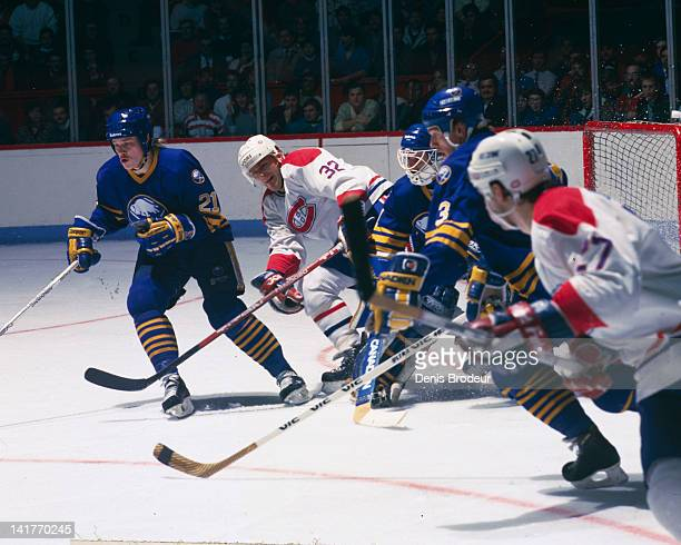 Claude Lemieux of the Montreal Canadiens skates up the rink during a game against the Buffalo Sabres Circa 1980 at the Montreal Forum in Montreal...