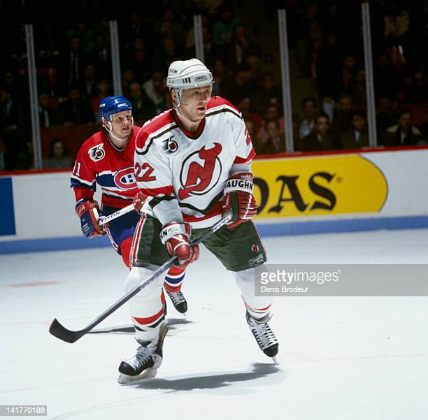 Claude Lemieux of the New Jersey Devils skates against the Montreal Canadiens Circa 1990 at the Montreal Forum in Montreal Quebec Canada