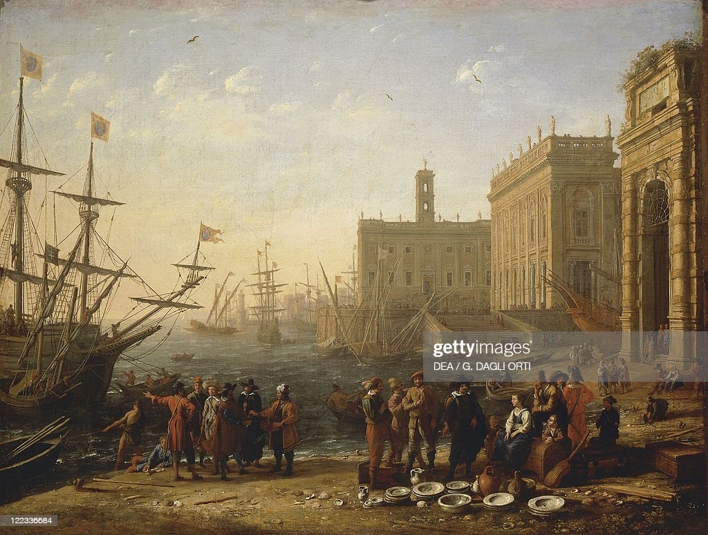 Claude Lorrain View of a Harbour with the Capitoline Hill 16301639 oil on canvas 56x72 cm A topographically incorrect depiction of the city of Rome...