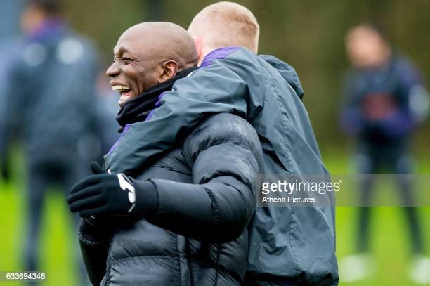 Claude Makelele and Oliver McBurnie during the Swansea City training session at The Fairwood training Ground on February 03 2017 in Swansea Wales